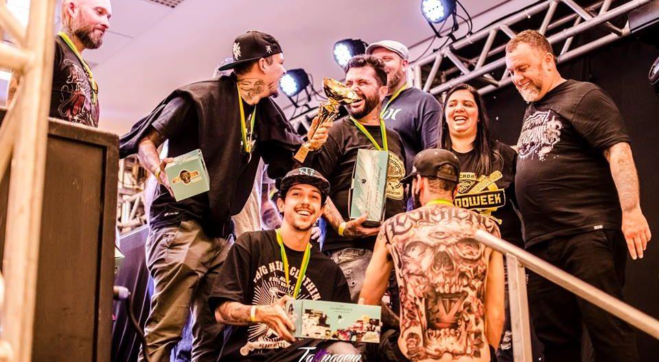 Premiação do concurso de tatuagem na 1ª Tattoo Experience. Foto: Divulgação.