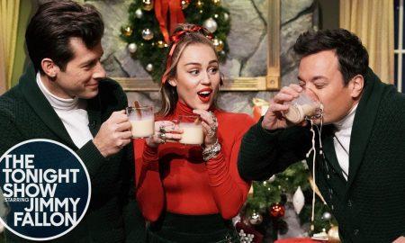Miley Cyrus, Mark Ronson e Jimmy Fallon. Foto: Reprodução/Youtube