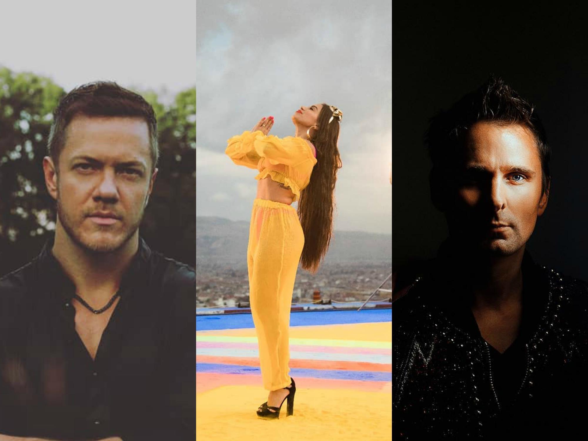 Anitta, Muse e Imagine Dragons. Foto: Reprodução/Instagram/PopNow